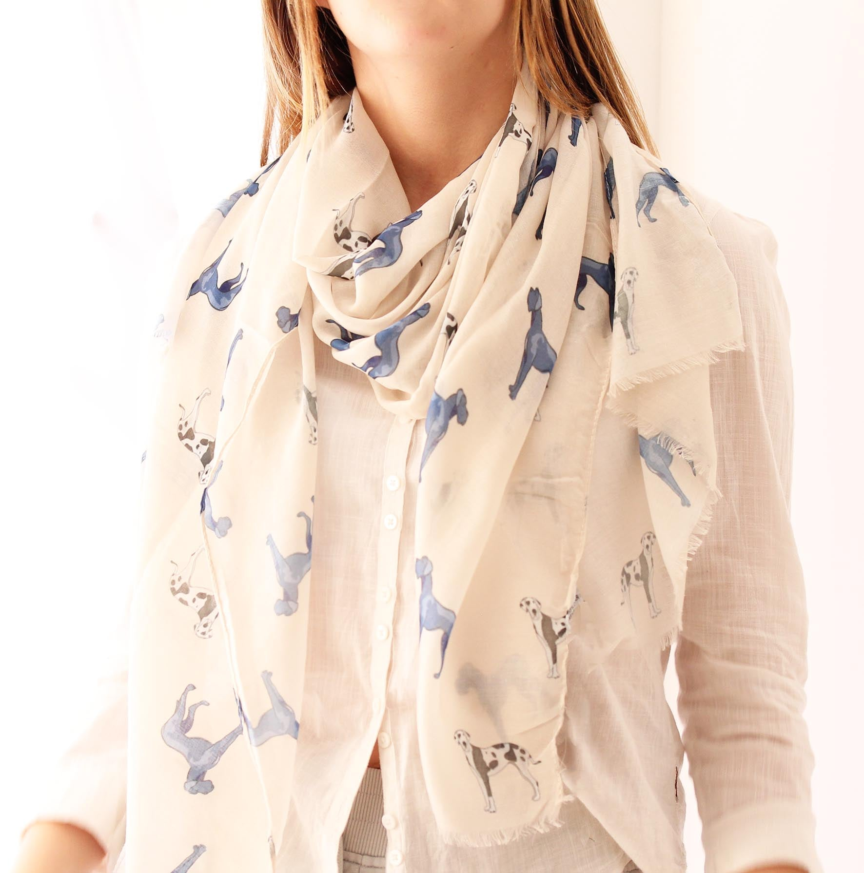 Great Dane and Dalmation Printed Scarf for Dog Lovers