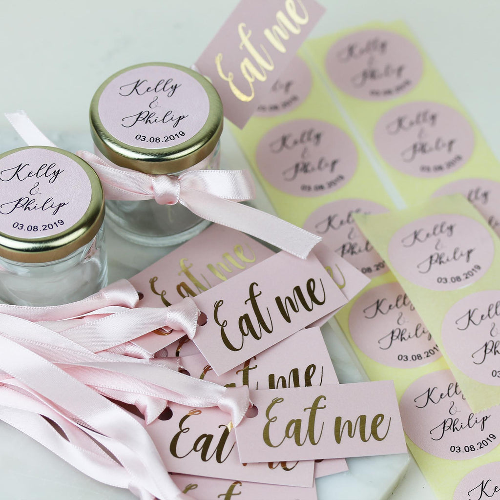 DIY Wedding Favour Jars and Labels, personalised in Pink and Gold.