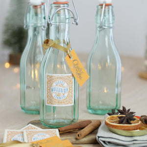 Personalised Glass Swing Bottle With Personalised Labels For Homemade Gin