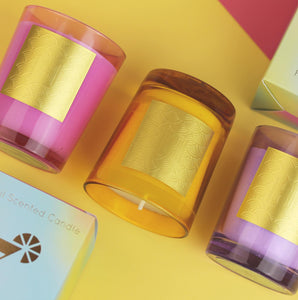A Cocktail Candle in Tinted Glass, choice of 3 designs.