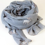 French Bulldog Print Scarf in grey