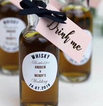 Personalised Whisky Filled Miniature Bottles For Wedding Favours