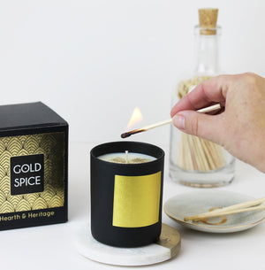 Gold Spice Christmas Candle in Matt Black Pot