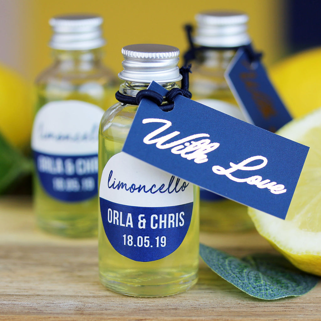 Limoncello personalised wedding favours in glass bottles
