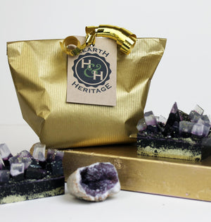 Amethyst style handcrafted violet soap with gold dust (w)