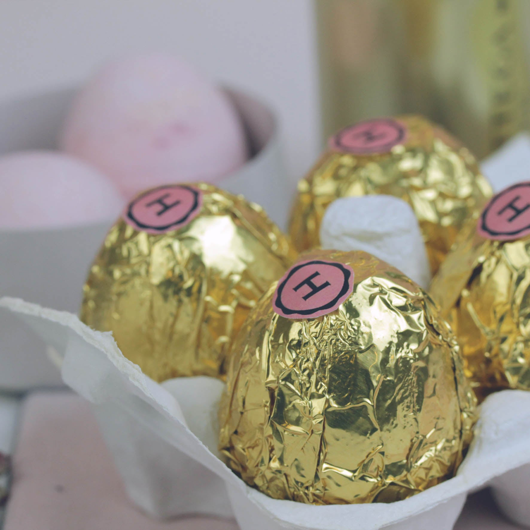 Prosecco Easter Egg Bath Bombs in Egg Box