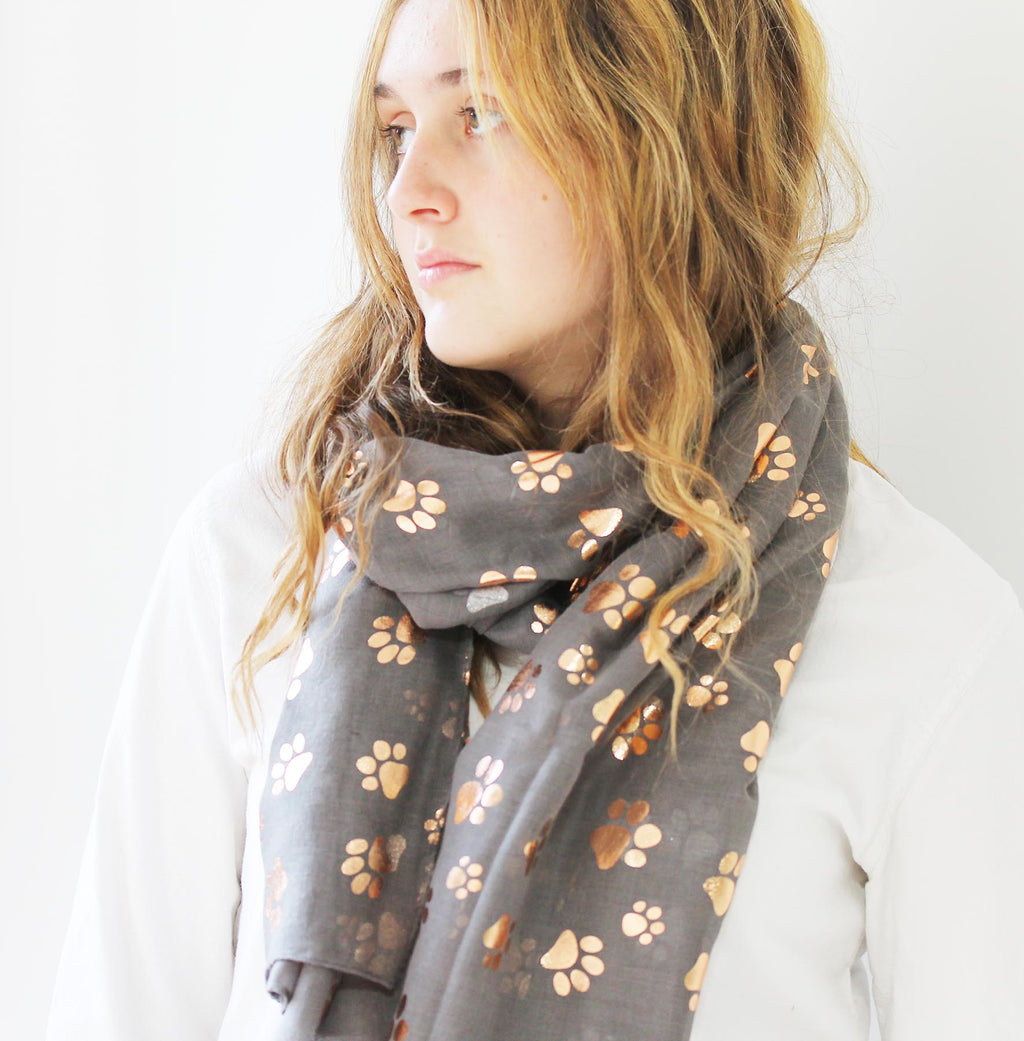 Rose Gold Paw Print Scarf for Dog Lovers
