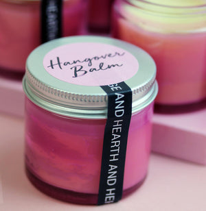 Hangover Balm in Pink Glass Jar