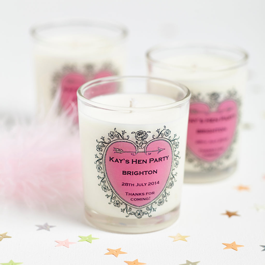 Hen Party Personalised Candles, favours for your Hens!