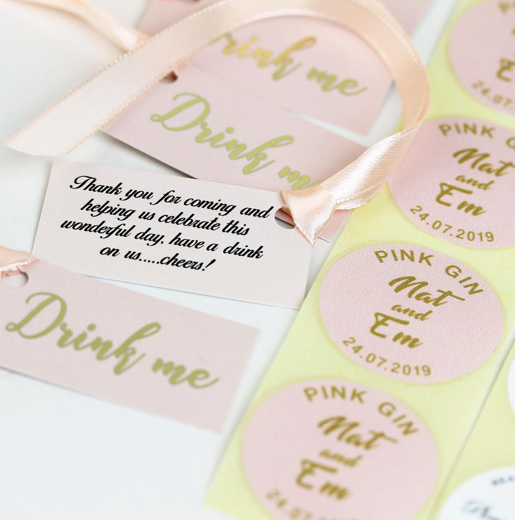 DIY Wedding Favour Personalised Labels and tags in choice of colours.