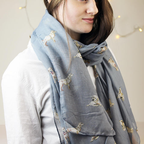 Labrador Dog Print Scarf in grey