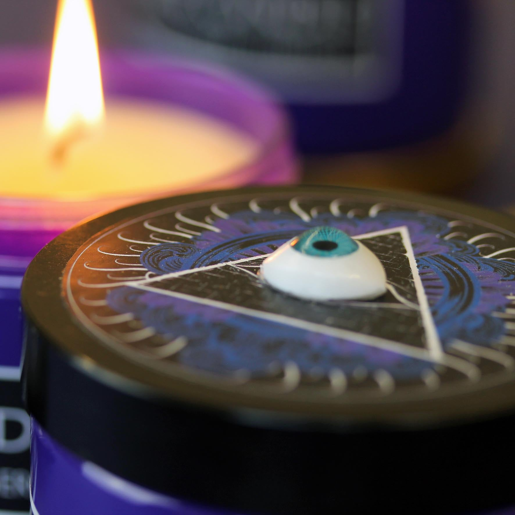 Tarot Candle in Purple Jar with 'all seeing eye' lid with Oud, Incense and Tuberose. (W)