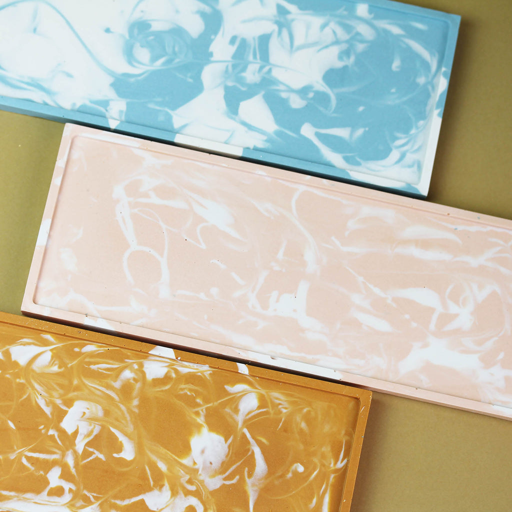 Handcrafted Jesmonite Marbled Accessories Tray