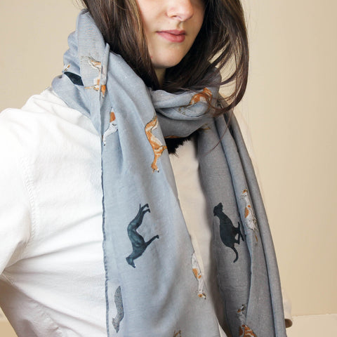 Multi Coloured Greyhound Dog Print Scarf in Pale grey