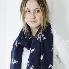 Jack Russell Illustrated Print Dog Print Scarf
