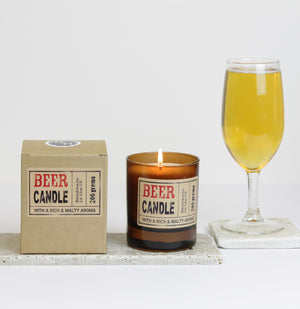 Beer Scented Candle in Brown Glass (w)