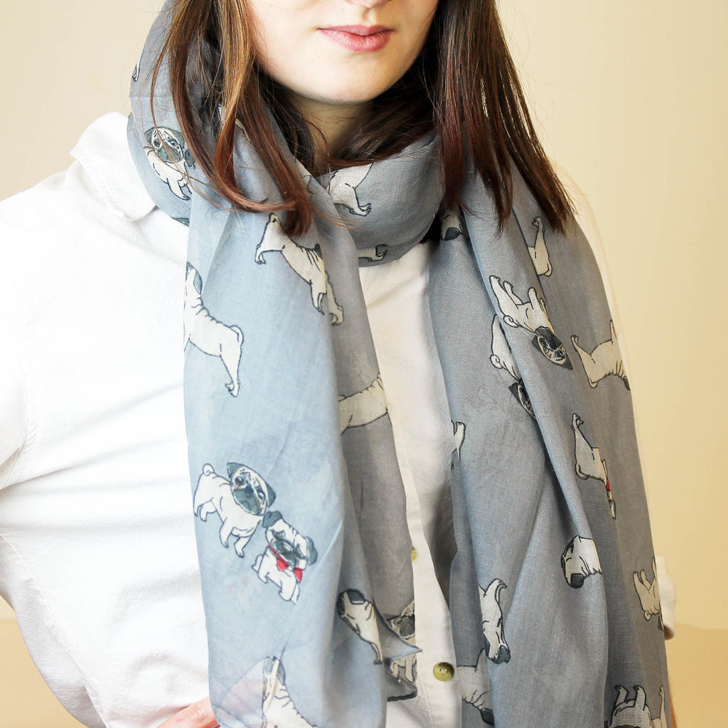 Pug Dog Print Scarf in 2 colourways