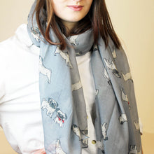 Pug Dog Print Scarf in grey