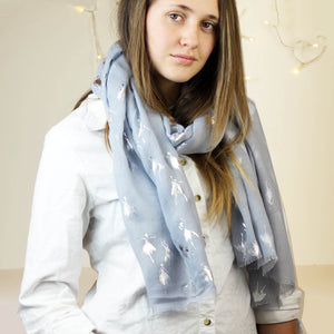 Ballet Dancer Foil Print Scarf in Two Colourways.