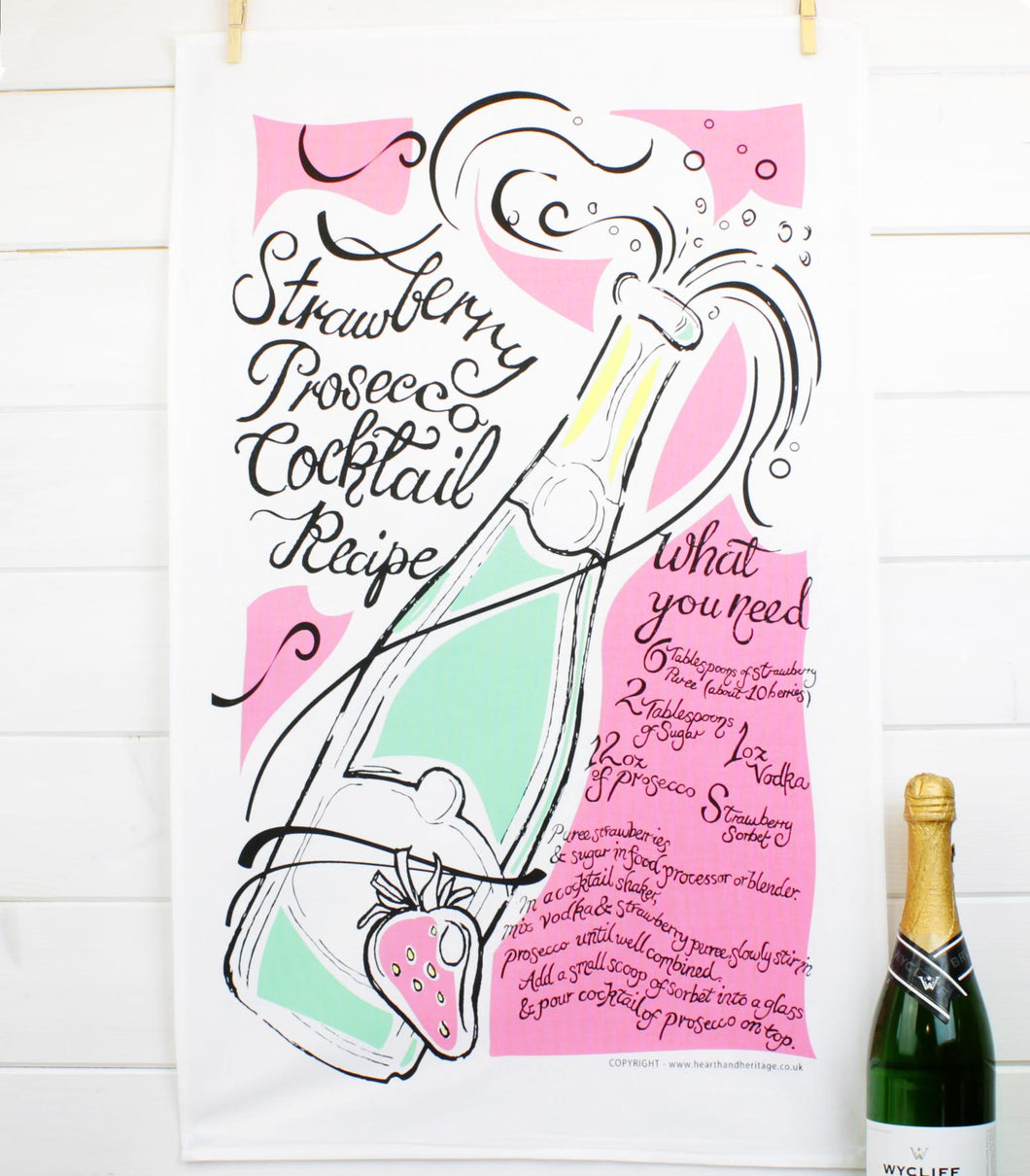 prosecco cocktail recipe teatowel