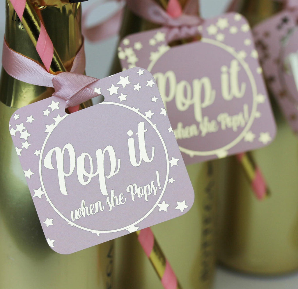 Baby Shower 'Pop it when she pops!' luxury tags for Champagne.