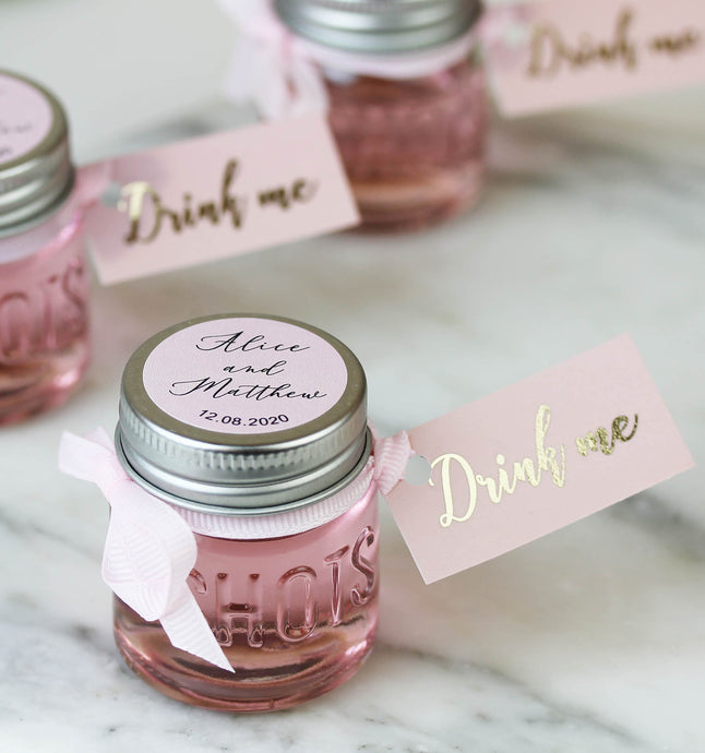 Personalised Shot Jars filled with Pink Gin or Limoncello For Wedding Favours