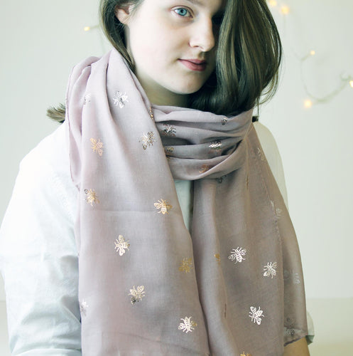 Rose Gold Bee Foil Print Scarf