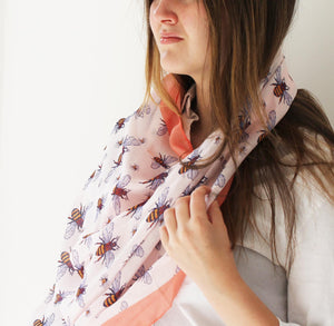 Colourful Bee Print Scarf in 2 colourways