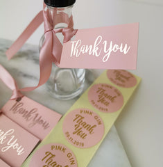 'Thank You' Blush Pink Tags with ribbons.