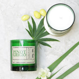 Pinot Grigio Wine Scented Candle in Green Glass(w)