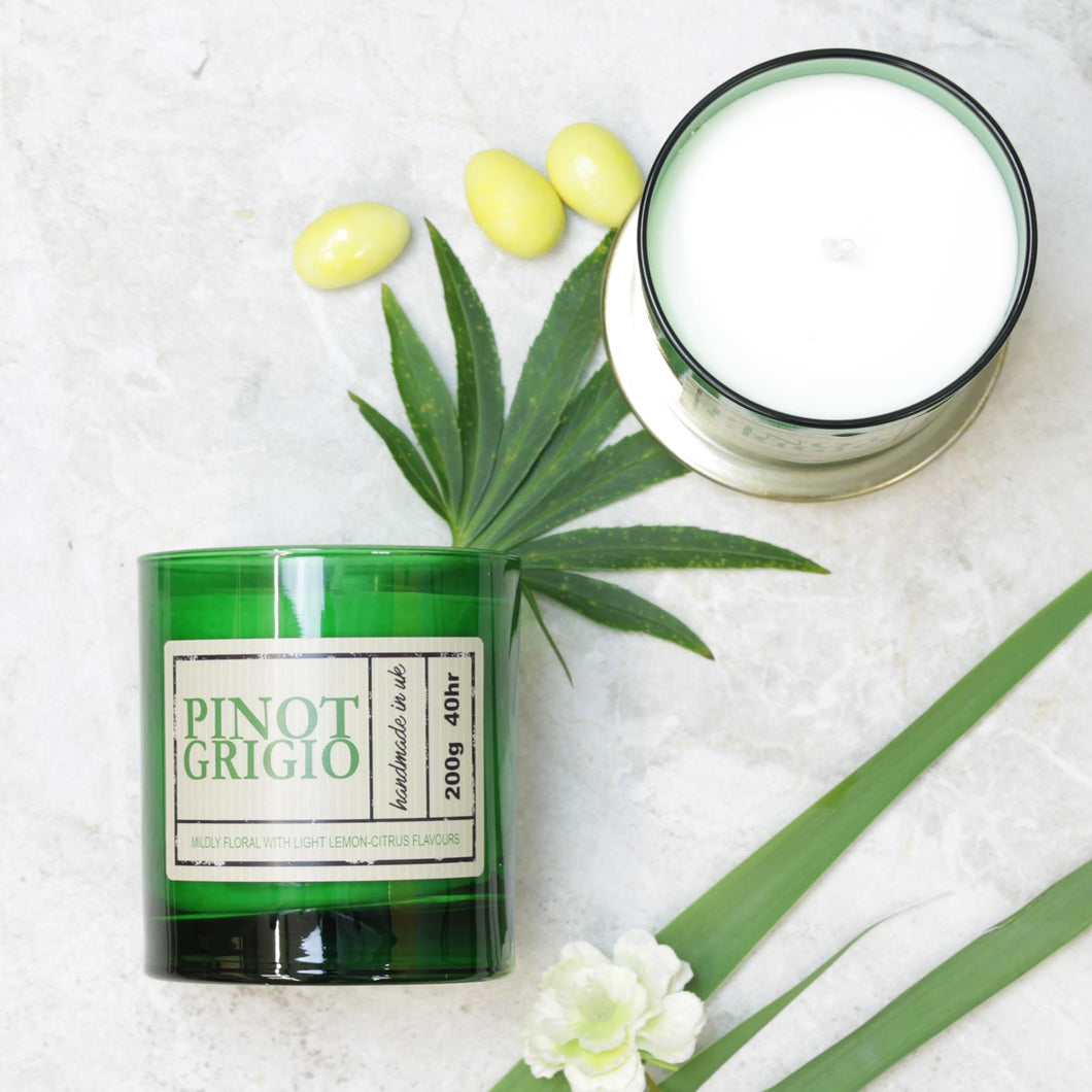 Pinot Grigio Wine Scented Candle in Green Glass