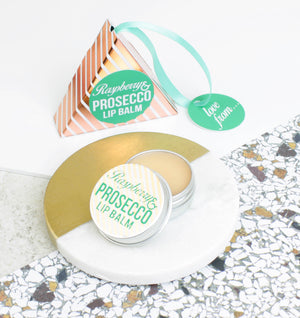 Prosecco & Raspberry Lip Balm in a Rose Gold Hanging Gift Box.(W)