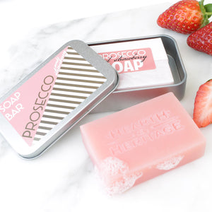 Prosecco & Strawberry Natural Soap in Travel Tin (w)