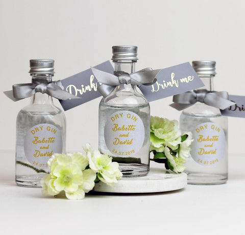 Personalised Dry Gin Filled Miniature Bottles For Wedding Favours in Silver Grey
