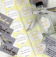 DIY Wedding Favour Personalised Labels and tags with EMPTY BOTTLES in choice of colours.