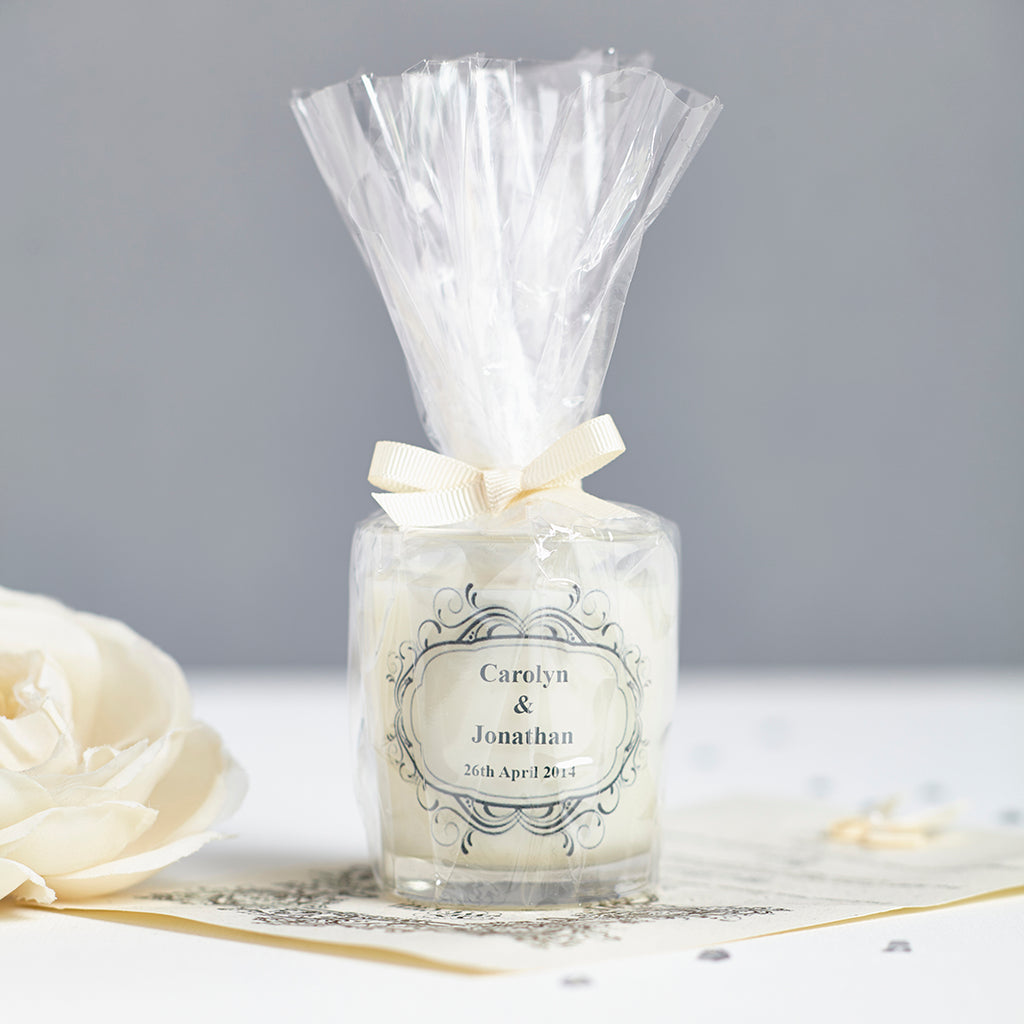 Personalised Wedding Favour Candles Individually Wrapped