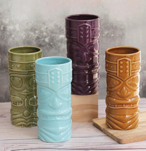 Brightly coloured Tiki Jars in ceramic