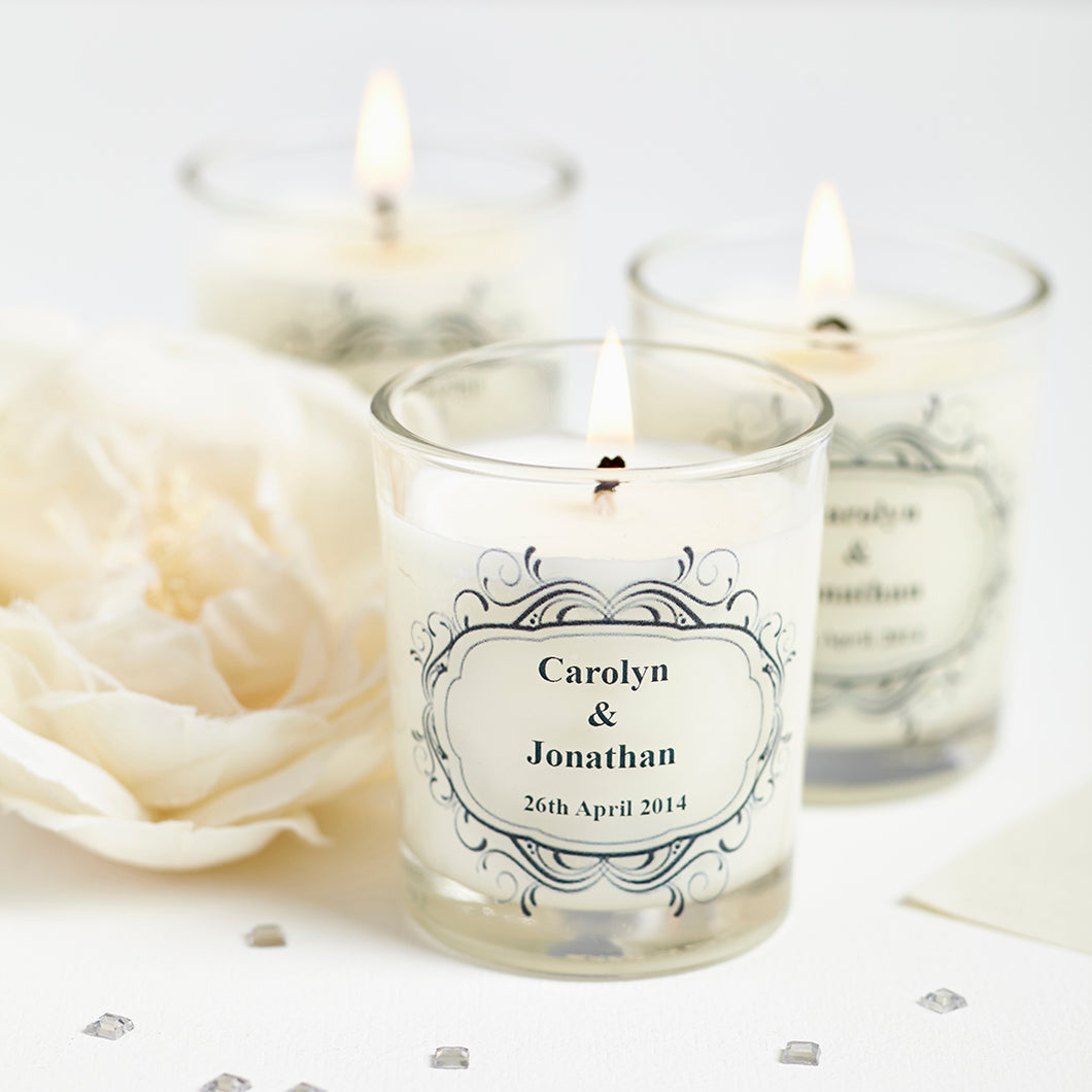 Personalised Wedding Favour Candles individually wrapped in Cellophane