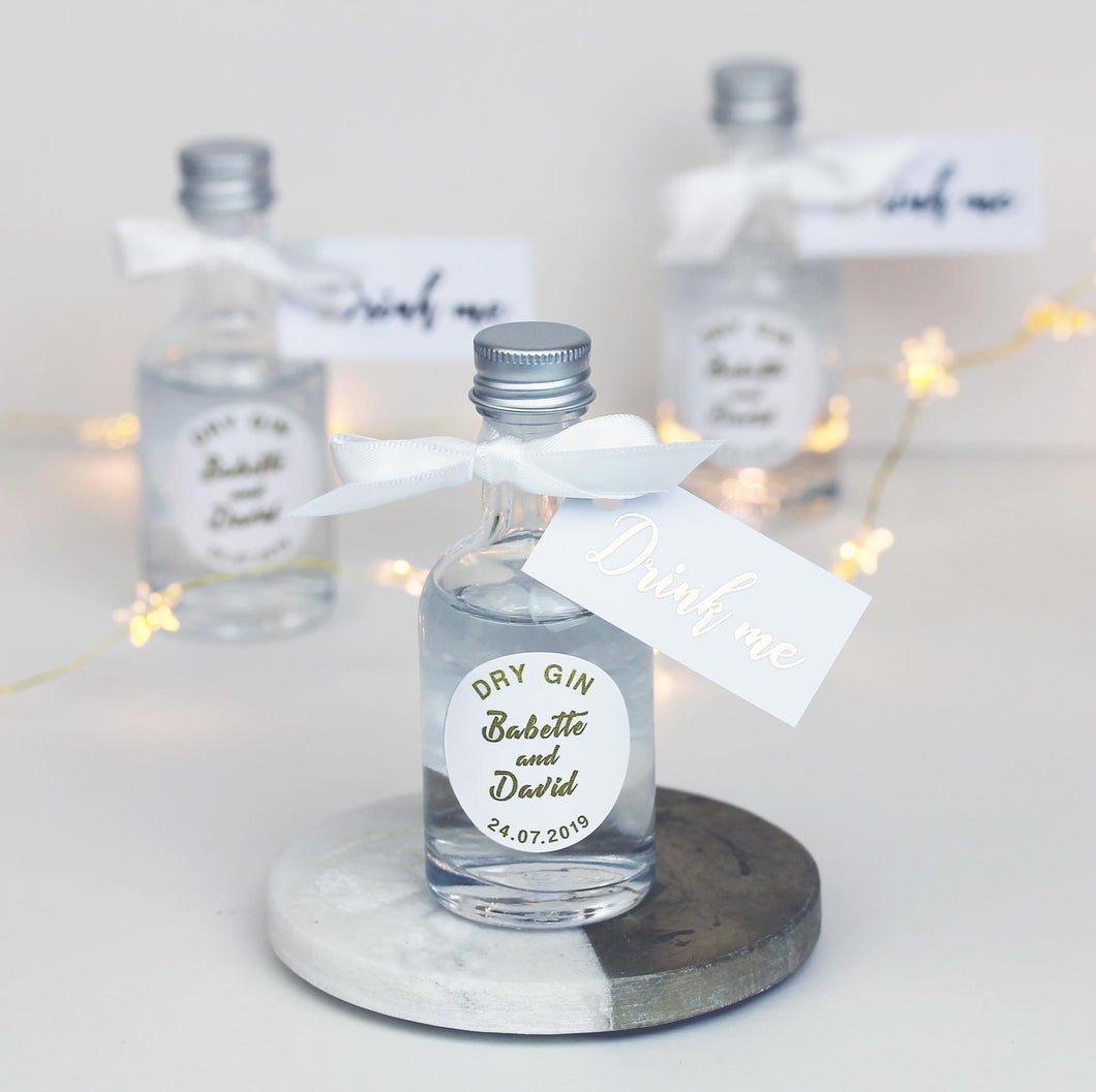 Personalised White and Gold Gin Filled Miniature Bottles For Wedding Favours