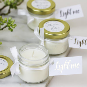 Scented Candle Wedding Favours in Gold Glass Jars
