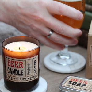 Beer Scented Candle in Brown Glass