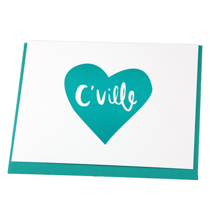C'Ville Teal Heart Notecard