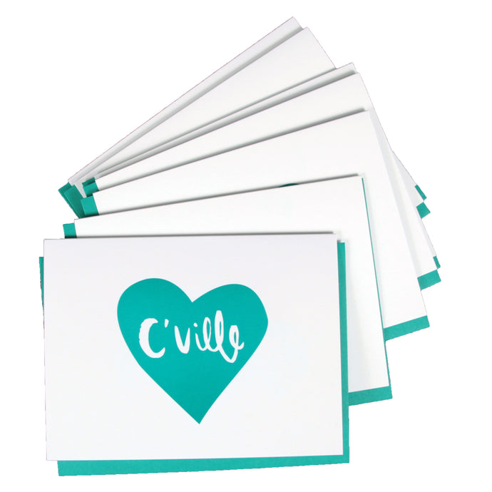 C'Ville Teal Heart Notecard Set