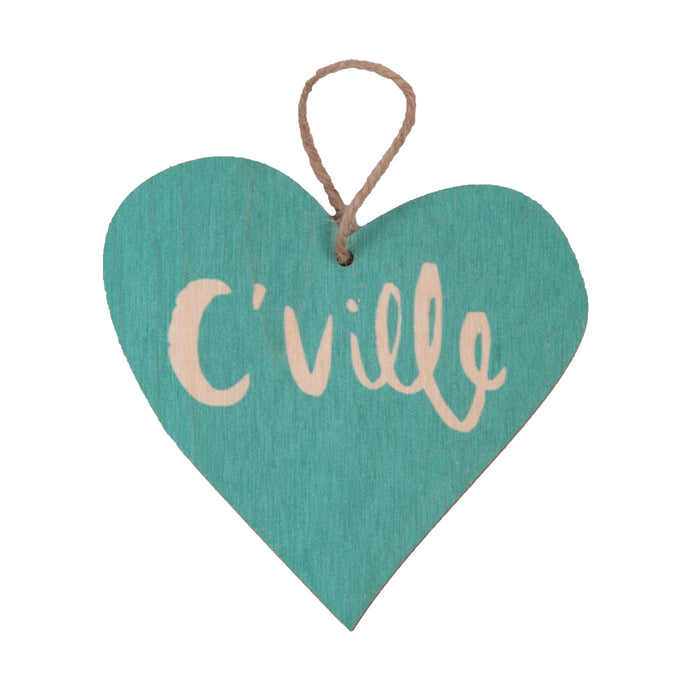 C'Ville Teal Heart Holiday Ornament