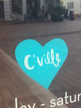 C'Ville Teal Heart Window Cling