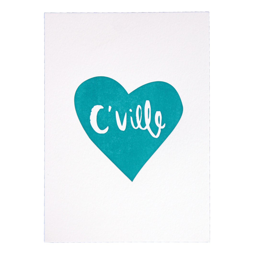 C'Ville Teal Heart Letterpress Art Print