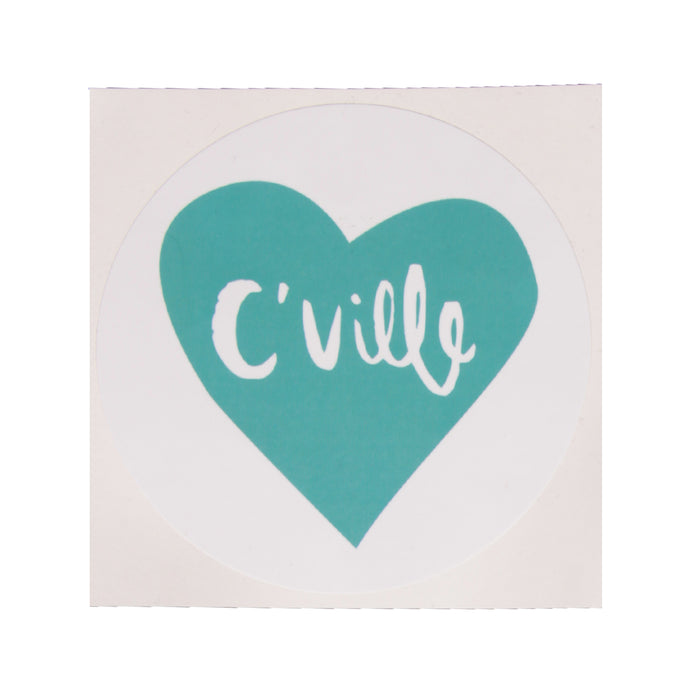 C'Ville Teal Heart Bumper Sticker