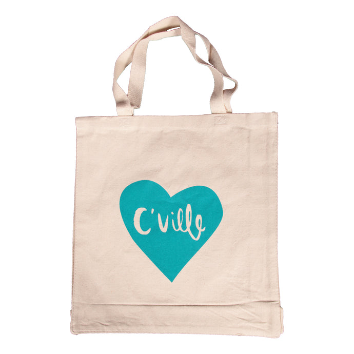 C'Ville Teal Heart Tote Bag