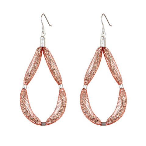 This large Teardrop earring design is a loop of sparkling Czech crystals set on a sterling silver hook and encased in a beautiful blush mesh.