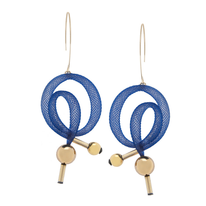 the Bradley Swirl earrings are made with rich navy tones, finished in luxurious 14kt gold fill.